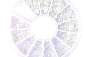 Набор жемчуга (белый перамутр) размер-микс в карусельке